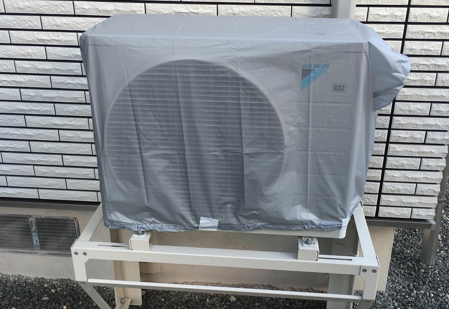 8畳用エアコンの室外機に100均カバー