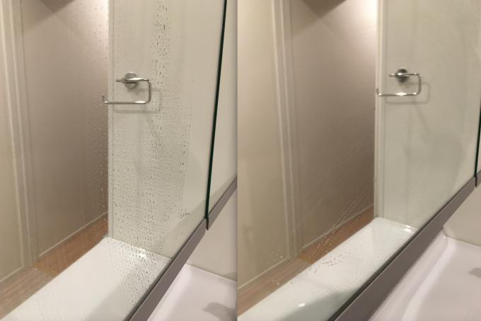 安い布巾で拭き取った鏡の水滴