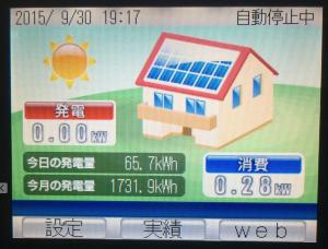 太陽光発電リモコン2015年9月分