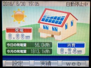 2016年6月分太陽光発電量