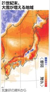 温暖化の降雪量増減