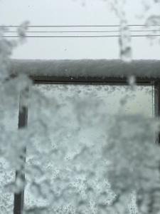 バルコニー手摺に積もる雪