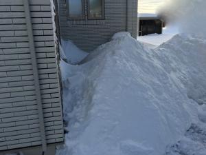 カーポートの後ろの雪山