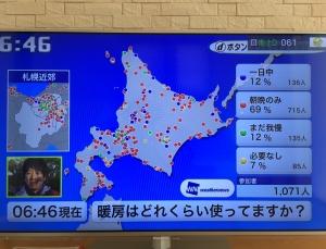 北海道の10月の暖房使用状況