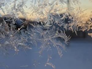 窓に出来た霜の結晶